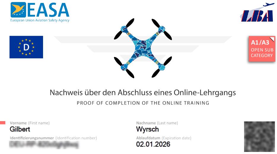Drohnen Prüfung Schweiz - Pilotenlizenz UNO und DUE - EU Drohnenführerschein - Drohnen Prüfung - Lizenz